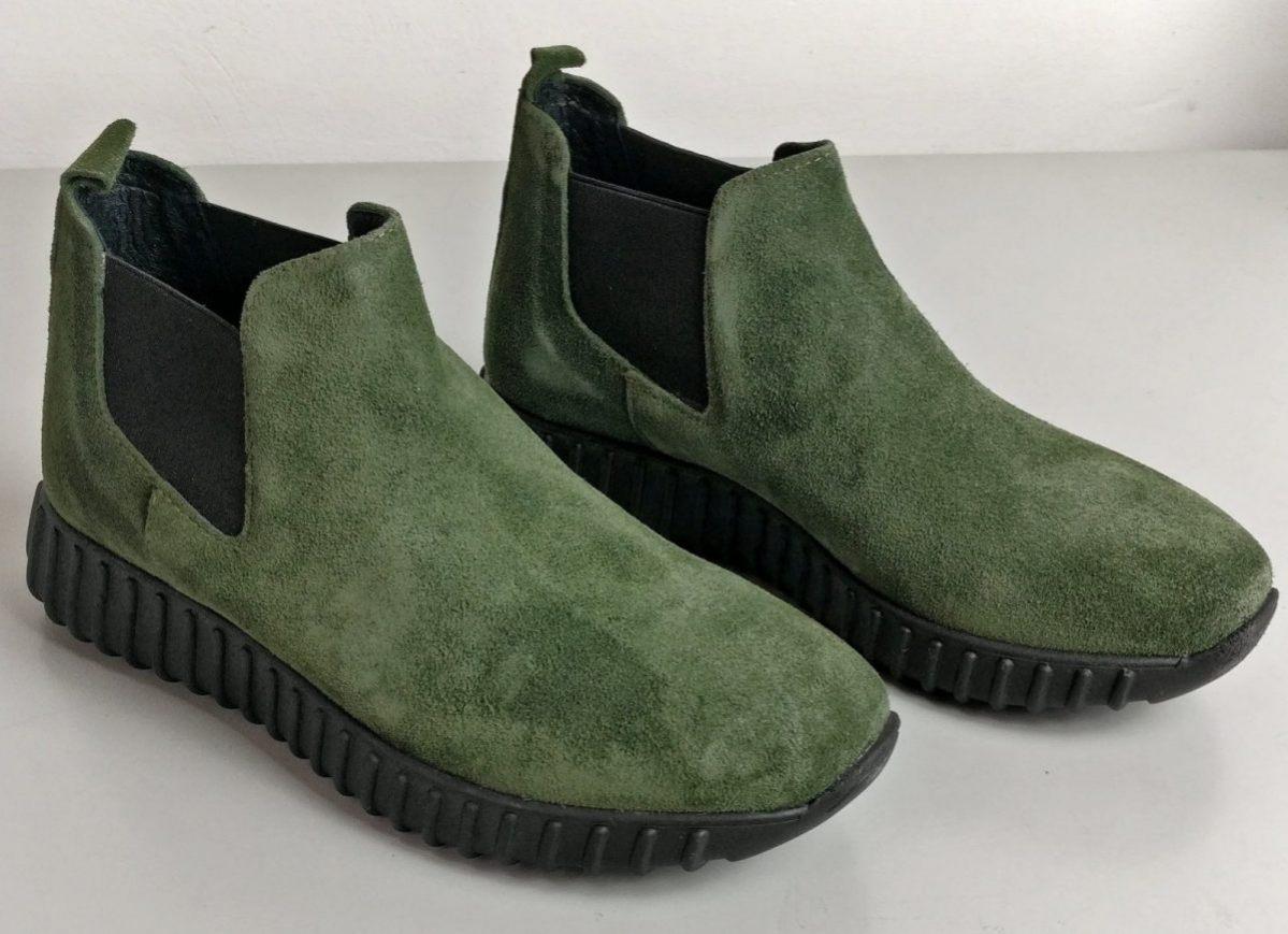 Sneakers beatles in camoscio verde