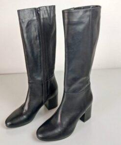 Stivali in pelle alti colore nero