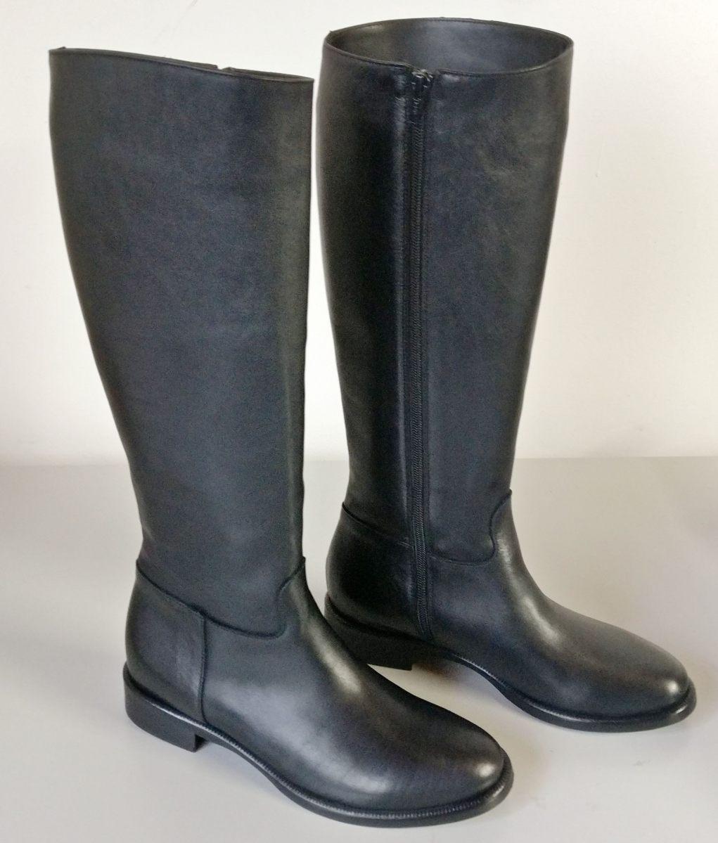 Stivali vitello nero zip laterale tacco 2 cm