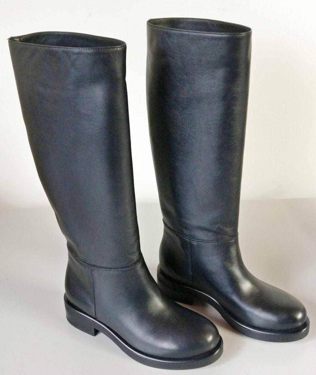 Stivali vitello nero senza zip tacco 3 cm