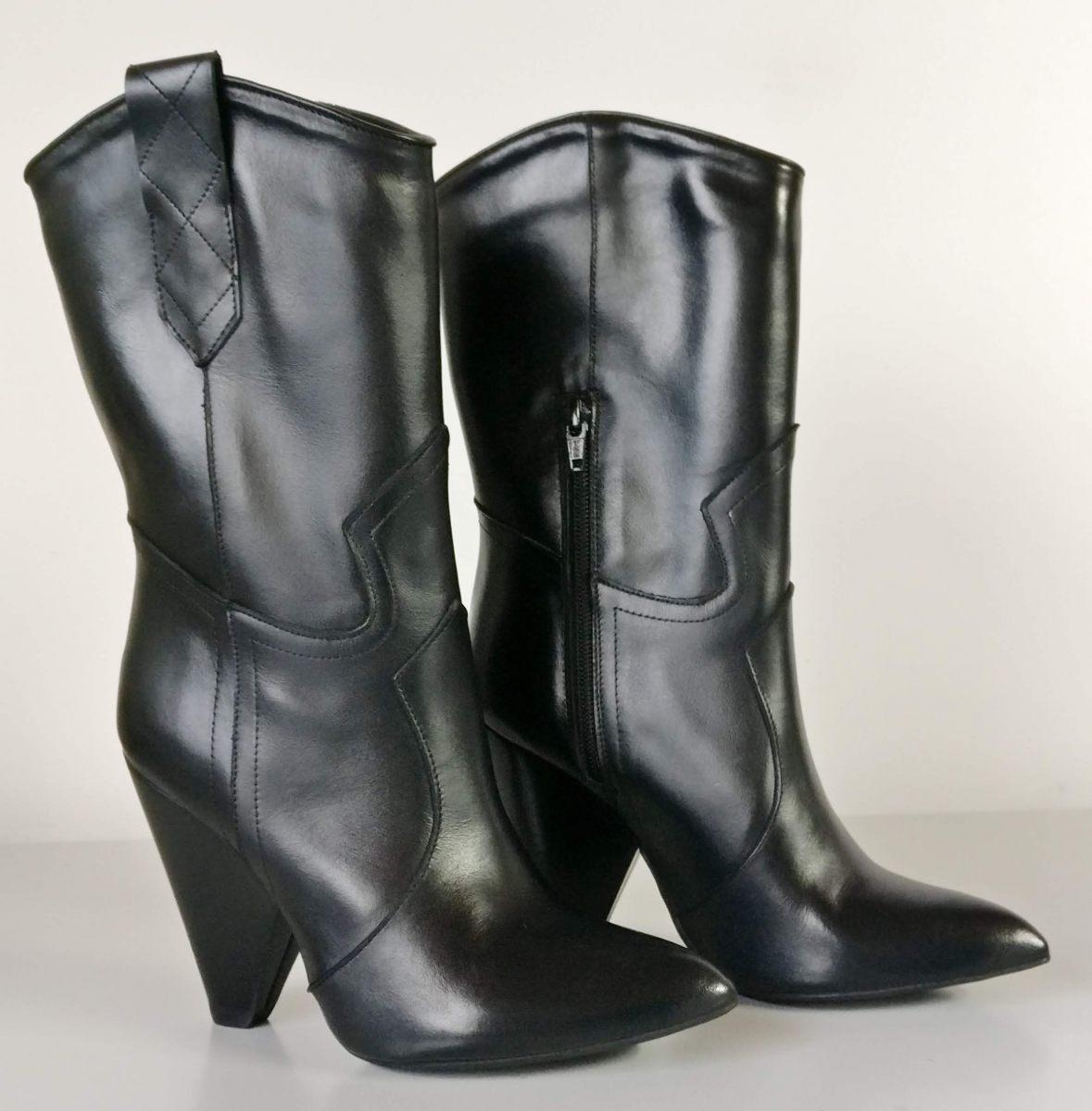 Stivali medi vitello nero tacco 10 cm
